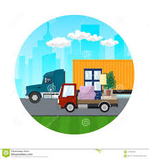 Icon Of Trucks Drive On The Road Stock Vector - Illustration Of ...