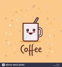 süße tasse kaffee comic charakter mit lächelnden
