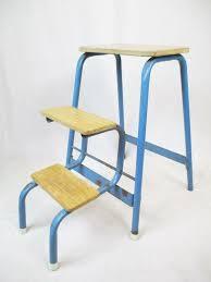 Vintage 50's Folding Step Stool Blue & Wood Ladder Mid Century Retro  Industrial
