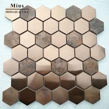 heißer verkauf hexagenal gold metall braun kupfer mosaik wand fliesen badezimmer fliesen mosaik