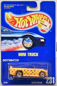 100 Mini Truck Wheels HOT WHEELS 1991 BLUE CARD 231 MINI TRUCK YELLOW 13 0011644