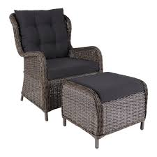 Outdoor Lounge Chair With Footstool Leon | Grey - Decovry.com