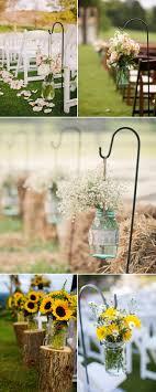 Rustic Outdoor Wedding Aisle Decorations Mason Jars Flowers
