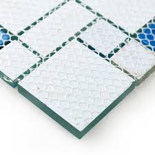 Blue Mosaic Bathroom Mirror by Glass Conch Tiles Sea Blue Glass Tile Bathroom Wall Mirror Deco