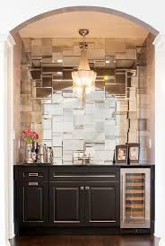Unique Copper Chandelier Lighting Wet Bar And Mosaic Mirrored Tile