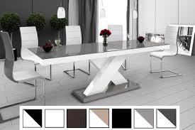 details zu design esstisch tisch he 888 grau weiß hochglanz ausziehbar 160 bis 210