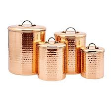 Old Dutch International Copper Clad Stainless Steel Hammered Canister Set Of 4