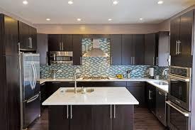 Contemporary Kitchen Backsplash Ideas With Dark Cabinets Ceramic Coffee Mug Black Kithen Applainces Plywood Stained Shelf Gray Laminated Floor