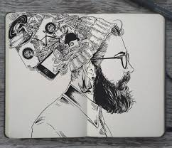Black And White Hipster Drawing