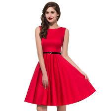 Grace Karin 1950s Vintage Sleeveless Boat Neck Cotton Dress With Belt Red