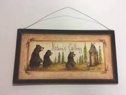 Outhouse Themed Bathroom Accessories by Black Bear Country Bath Wooden Wall Art Sign Lodge Bathroom