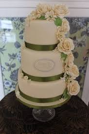 Ivory Roses And Chrysanthemums Green Accents Wedding Cake By The Swoon Bakery
