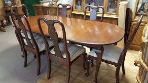 Ethan Allen Dining Room Table Leaf by Ethan Allen Queen Anne Table Including Six Chairs And Two Leaves