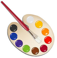 Palette With Paint Brush PNG Image