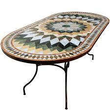 table ronde mosaique fer forge table mosaique de marbre ovale 140 90 sur pied fer forgé