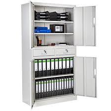 bureau m allique tectake armoire de bureau metallique avec 4 portes battantes et 2