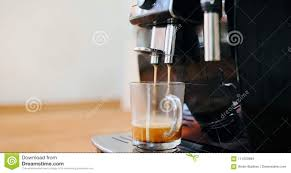 Download Coffee Machine Making In Morning With Crema Stock Photo