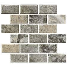 florida tile pietra polished travertine beveled mosaic silver