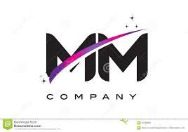100 Mm Design MM M M Black Letter Logo With Purple Magenta Swoosh Stock