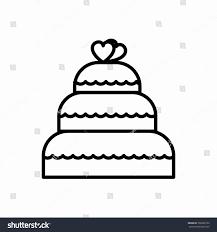 Wedding Cake Clipart Black and White Unique Wedding Cake Vector Line Icon Sign Stock Vector