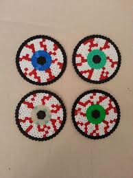 Halloween Perler Bead Templates by Halloween Creepy Bloodshot Eye Coasters Hama Perler Beads By