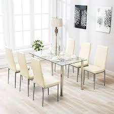 Mecor 7 Piece Kitchen Table Set Glass Top With 6 Steel Frame High Back PU