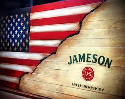 Jameson Whiskey Flag Rustic American Irish
