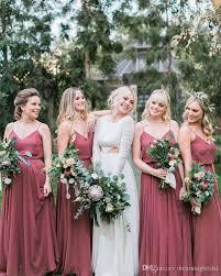 Water Melon Spaghetti Straps Country Bridesmaid Dresses 2018 New V