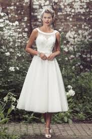 Tea Length A Line Sleeveless Vintage Rustic Semi Formal Wedding Dress 1