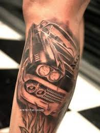 Classic Car Sleeve Tattoo Black And Grey On Leg By