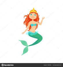 Red Hair Mermaid In Green Swimsuit Top Bra And Tiara The Head