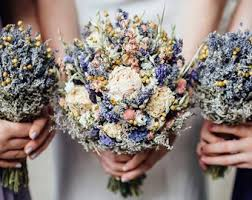 Spring Wildflower Bridal Bouquet Pink And Purple Rustic Wedding Dried Flower