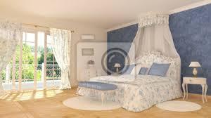 fototapete klassische schlafzimmer blau weiß