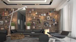 Modern Rustic Apartment Living Room Interior Decor With Wood Covering Panels Plus Wall Shelving Units For Picture Frame Books