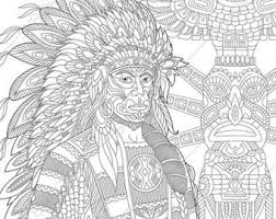 Adult Coloring Pages Native American Indian Chief Zentangle Doodle Book Digital