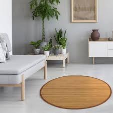 homestyle4u 368 bambusteppich rund bambusmatte rutschfest mit bordüre braun 150 cm