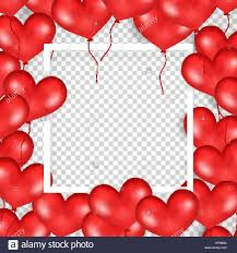 Frame With Red Balloons In Form Heart Transparent Background Big Place For Text Good For Wedding Anniversary Birthday Valentine s Day Party
