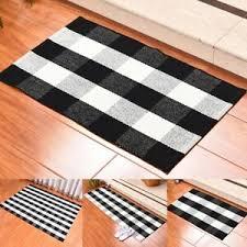 küchenläufer schwarz weiß waschbar gitter teppich läufer
