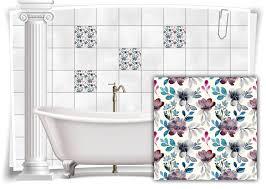 fliesen aufkleber fliesen bild blätter blumen grau türkis floral bad wc deko