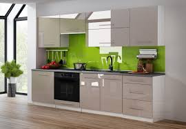 küchenzeile cappuccino hochglanz weiß 240 cm küche küchenblock mdf arbeitsplatte relinggriffe modern einbauküche