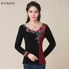 KYQIAO Plus Size Women Clothing Vintage 70s Ethnic M 5XL Black Red Patchwork V Neck