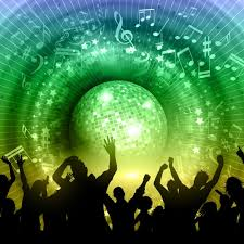 Silhouette Of A Party Crowd On An Abstract Mirror Ball Background With Music Notes