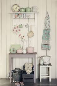 Team Pastel And Floral Accents With Cream Walls To Create A Charming Romantic Kitchen Display