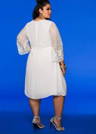 plus size lace sleeve chiffon dress 010 753wx