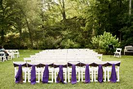 Garden Wedding White Chairs Purple