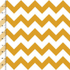 mustard chevron on white cotton jersey blend knit fabric by girl