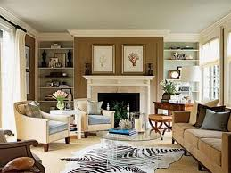 Zebra Area Rug For Colonial Family Room Ideas With Brown Accent Wall