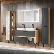 badezimmer hochschrank 2 türig mit füßen matera 56 matt grau artisan eiche b h t ca 35 190 30 cm