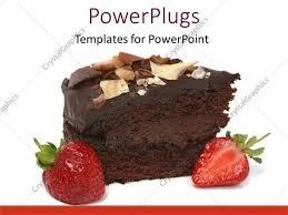 PowerPoint Template Displaying Chocolate Cake with Strawberry on White Background