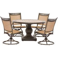 Hanover Fontana 5-Piece Aluminum Round Outdoor Dining Set With Swivels And  Tile-Top Pedestal Table Sunset Trading Co Selections Round Dinette Table Winners Only Quails Run 5 Piece Pedestal And 42 Ding With 4 Side Chairs Shown In Rustic Hickory Brown Maple An Asbury Finish Oak Set Rustica 54 W What I Want For My Kitchena Small Round Pedestal Table Archivist Crown Mark Camelia Espresso Glass Top Family Wood Kitchen Room Breakfast Fniture Modern Unique Sets Design Models New Traditional Cophagen 3piece Cinnamon